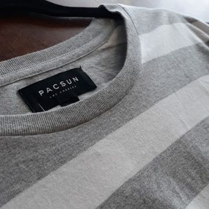 """PACSUN"" Grey & white Striped t-shirt"